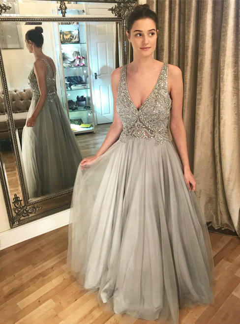 Gray V Neck Tulle Backless With Beading Prom Dress