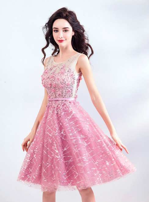 In Stock:Ship in 48 hours Pink Tulle Sequins Homecoming Dress