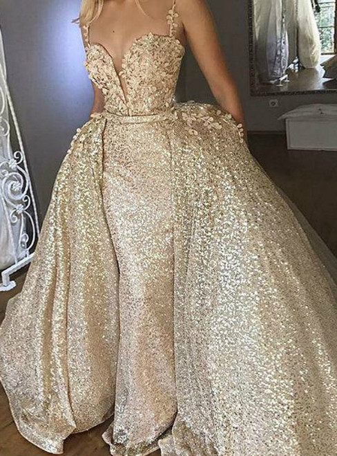 A-Line Spaghetti Straps Gold Sequin Appliques Long Prom Dresses
