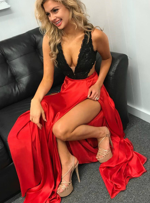 Black And Red Satin Deep V-neck Long Prom Dress With Side Split