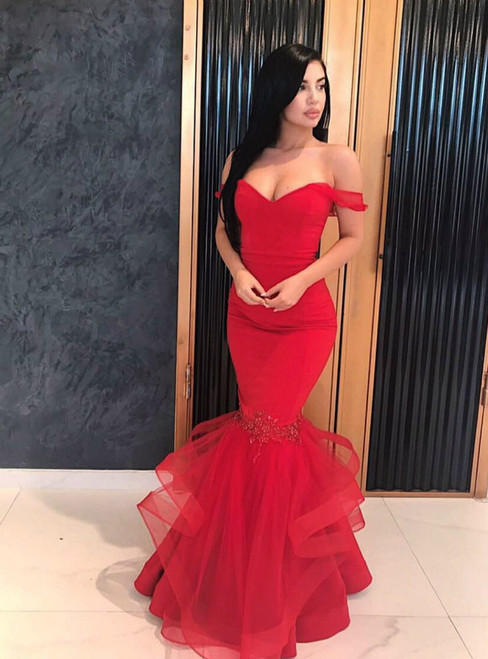Red Mermaid Tulle Off The Shoulder Floor Length Prom Dress