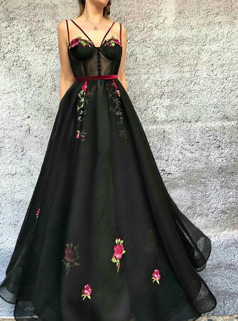 A-line Black Spaghetti Straps Backless Appliques Prom Dress