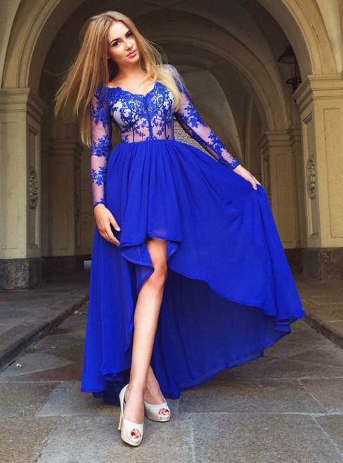 A-Line V-Neck High Low Blue Appliques Long Sleeve Prom Dress