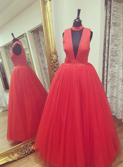 Red Halter Deep V-neck Tulle Floor Length Prom Dress