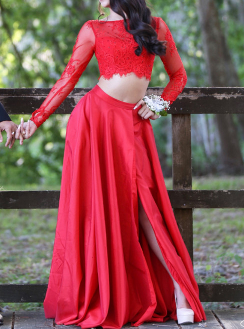 A-Line Red Two Piece Long Sleeve Satin Lace Prom Dress