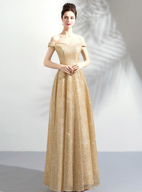 In Stock:Ship in 48 hours God Off The Shoulder Sequins Prom Dress