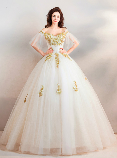 In Stock:Ship in 48 hours White Tulle Off The Shoulder Wedding Dress