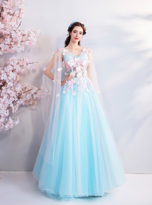 In Stock:Ship in 48 hours Blue Tulle V-neck Appliques Prom Dress