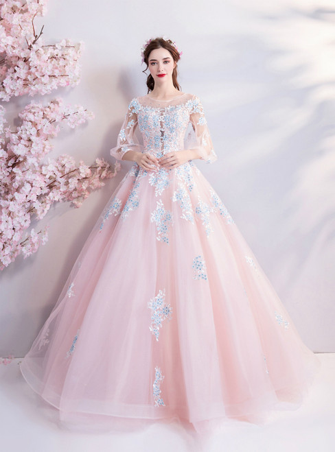 In Stock:Ship in 48 hours Pink Long Sleeve Tulle Quinceanera Dresses