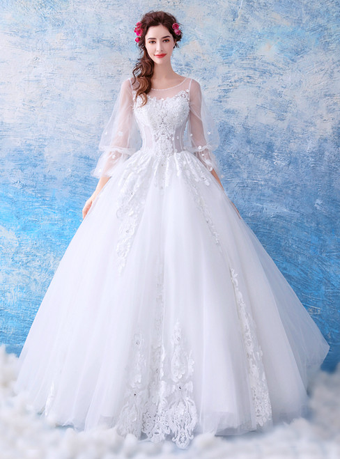 In Stock:Ship in 48 hours White Long Sleeve Backless Wedding Dress