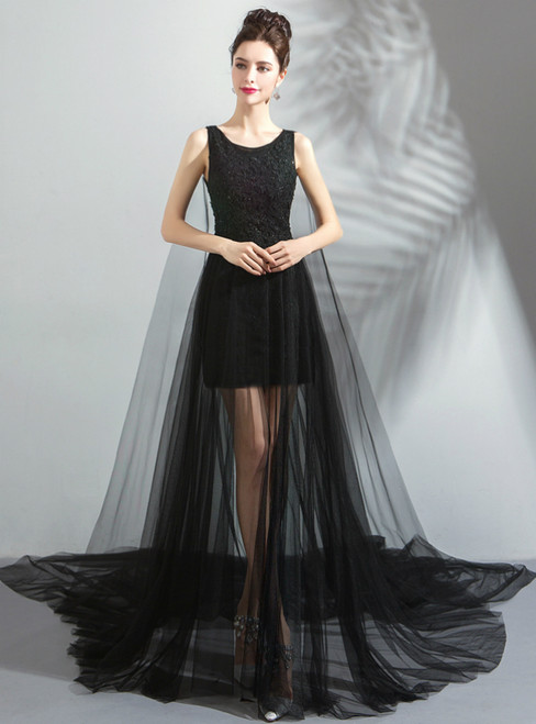 In Stock:Ship in 48 hours Sexy Black Lace Tulle Prom Dress