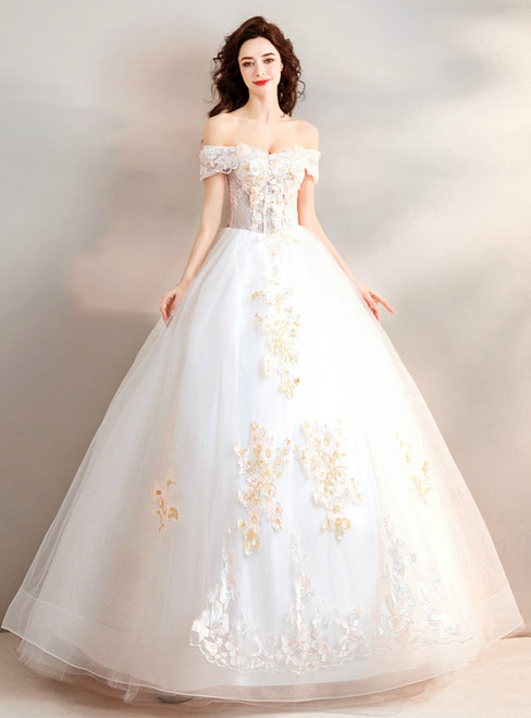 In Stock:Ship in 48 hours White Off The Shoulder Wedding Dress