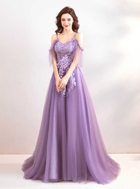 In Stock:Ship in 48 hours Purple Spaghetti Straps Backless Prom Dress