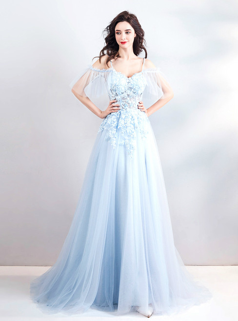 In Stock:Ship in 48 hours White Spaghetti Straps Tulle Prom Dress