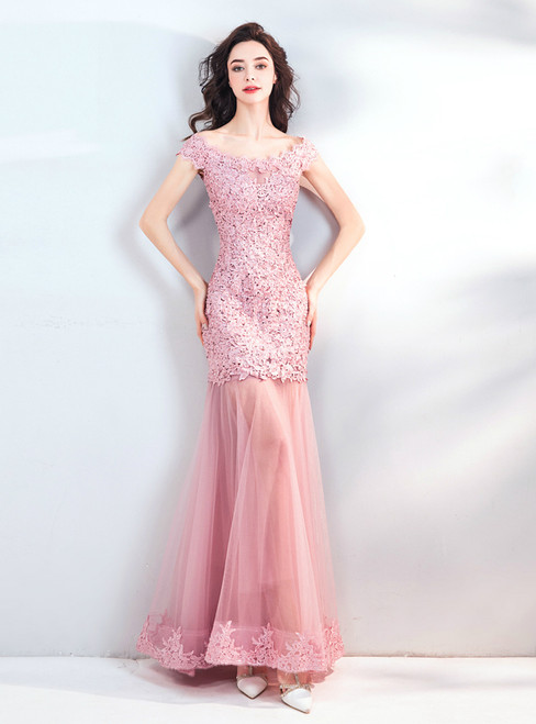 In Stock:Ship in 48 hours Pink Mermaid Lace Tulle Prom Dress