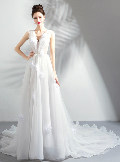 In Stock:Ship in 48 hours White V-neck Tulle Wedding Dress