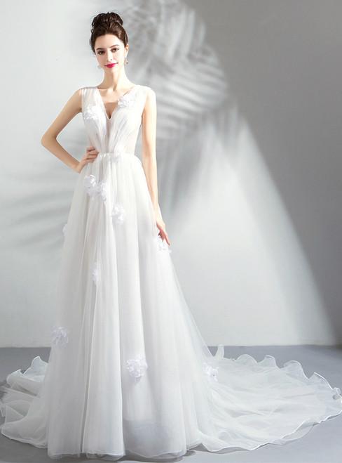 In Stock:Ship in 48 hours White V-neck Tulle Wedding Dress