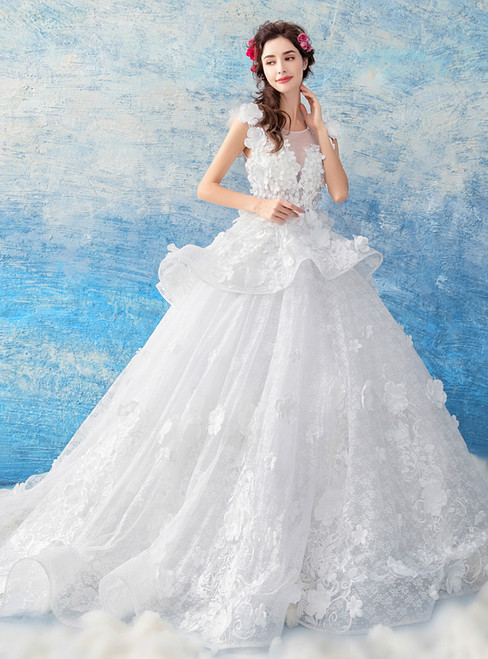 In Stock:Ship in 48 hours White Ball Gown Appliques Wedding Dress