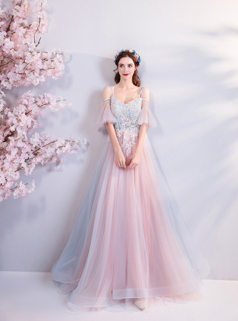 In Stock:Ship in 48 hours Pink Spaghetti Straps Tulle Prom Dress