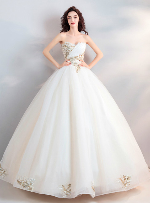 In Stock:Ship in 48 hours Ball Gown White Sweetheart Wedding Dress