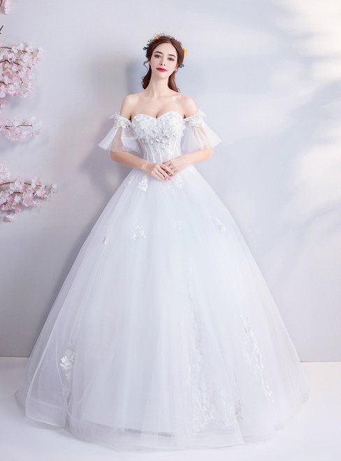In Stock:Ship in 48 hours Off The Shoulder Tulle Appliques Wedding Dress