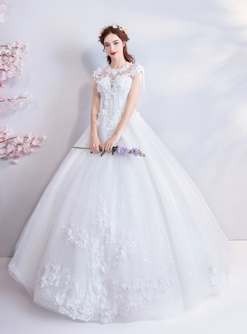 In Stock:Ship in 48 hours White Appliques Beading Wedding Dress