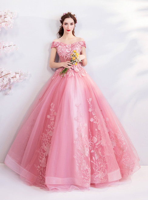 In Stock:Ship in 48 hours Pink Off The Shoulder Wedding Dress