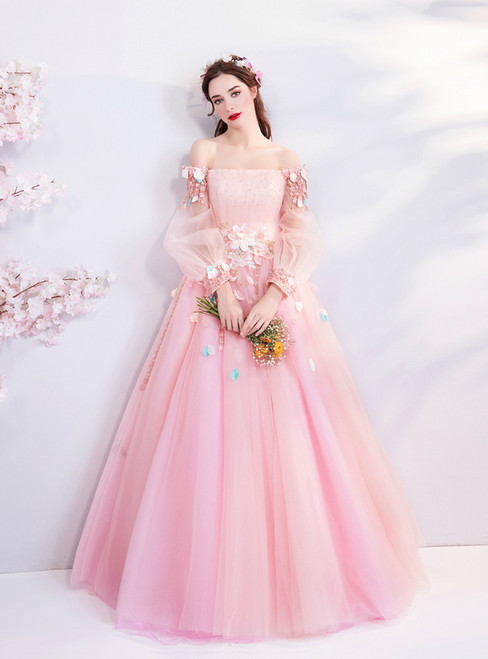 In Stock:Ship in 48 hours Pink Tulle Long Sleeve Wedding Dress