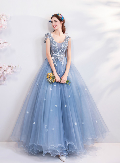 In Stock:Ship in 48 hours Blue V-neck Tulle Quinceanera Dresses