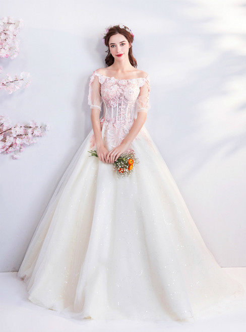 In Stock:Ship in 48 hours Champagne Tulle Pink Appliques Quinceanera Dresses