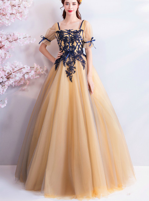 In Stock:Ship in 48 hours Yellow Tulle Short Sleeve Prom Dress