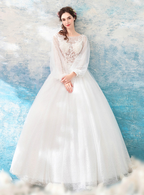 In Stock:Ship in 48 hours White Tulle Lace Backless Wedding Dress