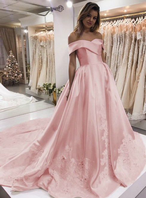 Pink Satin Off The Shoulder Lace Appliques Wedding Dress