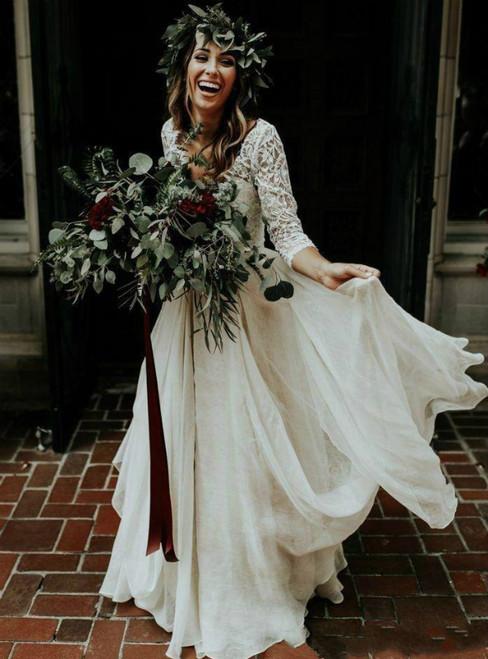Boho White V-neck Two Pieces Lace 3/4 Sleeve Wedding Dress