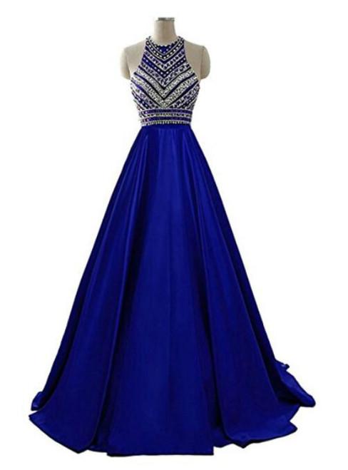 A-Line Blue Halter Satin Beading Prom Dress With Pocket