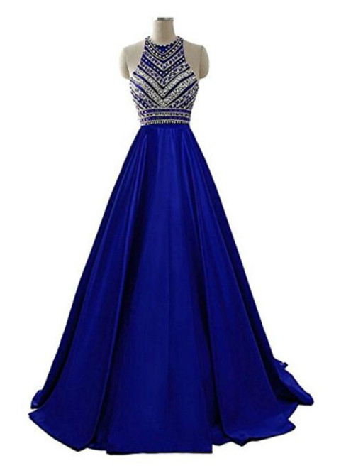 A-Line Blue Halter Satin Beading Prom Dress With Pocket