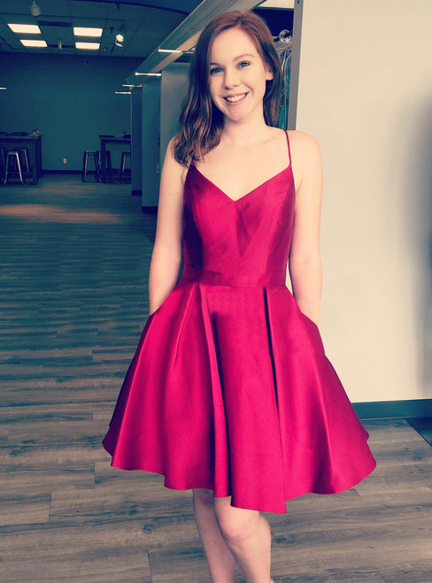 Burgundy A-Line V-Neck Satin Homecoming Dress With Pockets