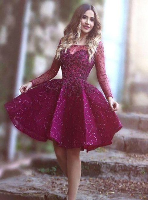 A-Line Purple Sequins Lone Sleeve Short Homecoming Dress