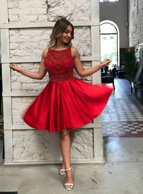 A-Line Red Satin Knee Length With Beading Homecoming Dress
