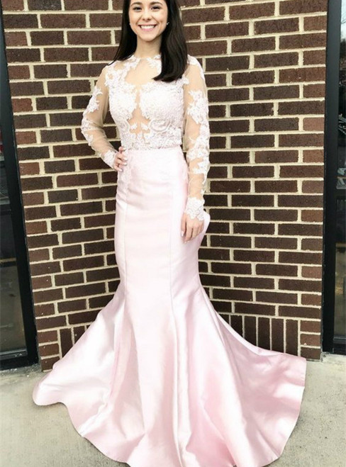 Pink Mermaid Lace Satin Long Sleeve Backless Prom Dress