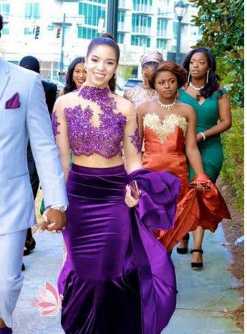 Purple Two Piece Lace Long Sleeve High Neck Backless Mermaid Prom Dress