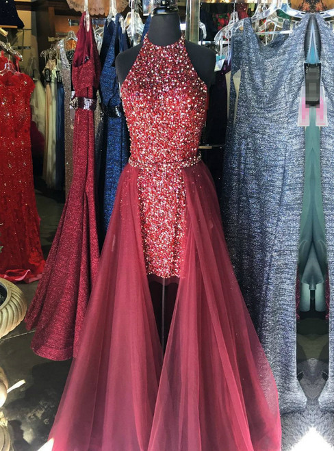 Burgundy Halter Two Piece Backless Sequins Tulle Prom Dress