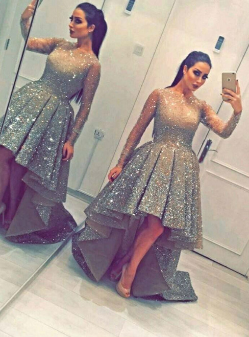 Sexy Gold High Low Long Sleeve Sequins Prom Dress