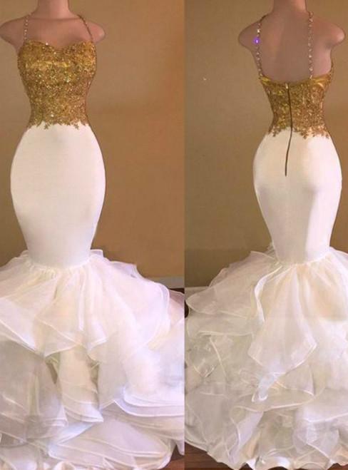 Mermaid Organza Spaghetti Straps Floor-Length With Applique Dresses
