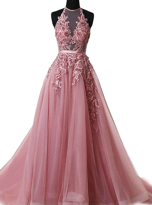A-Line Pink Halter Sleeveless Backless Applique Tulle Prom Dress