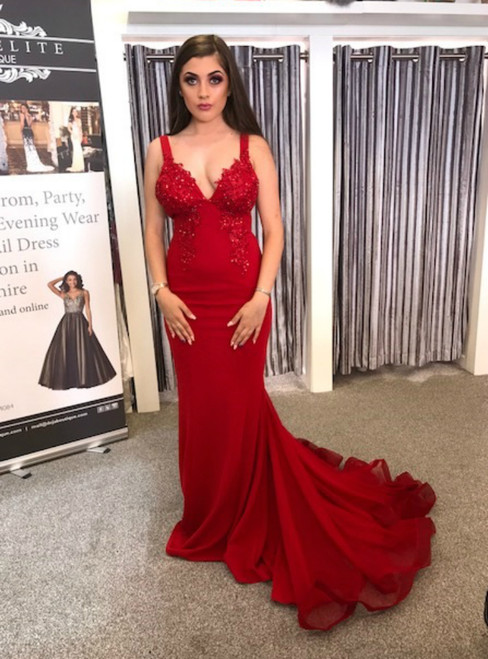 Red Mermaid Spaghetti Straps Tulle Backless Prom Dress