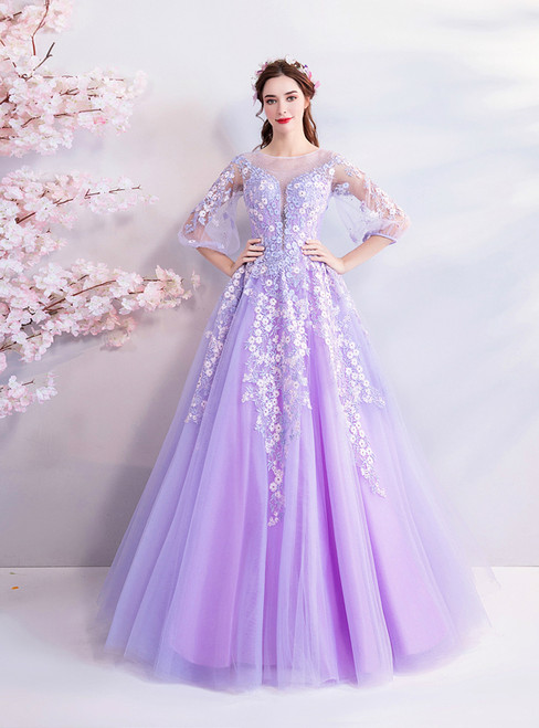 In Stock:Ship in 48 hours Purple Long Sleeve Quinceanera Dresses