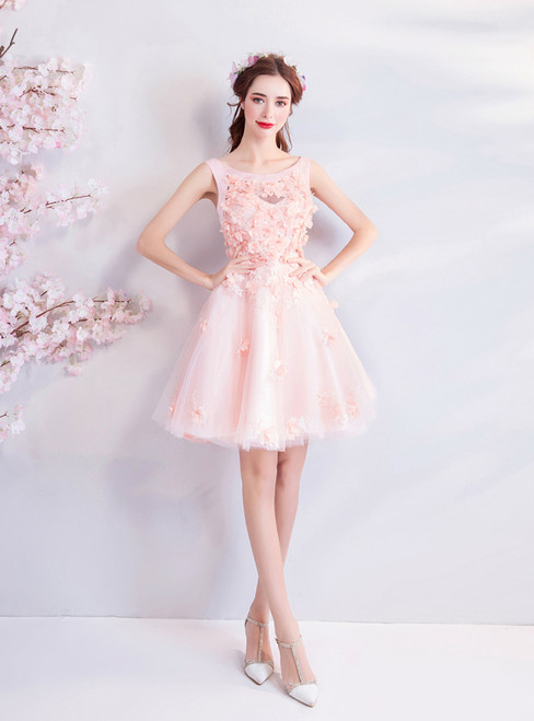 In Stock:Ship in 48 hours Pink Tulle Appliques Homecoming Dress