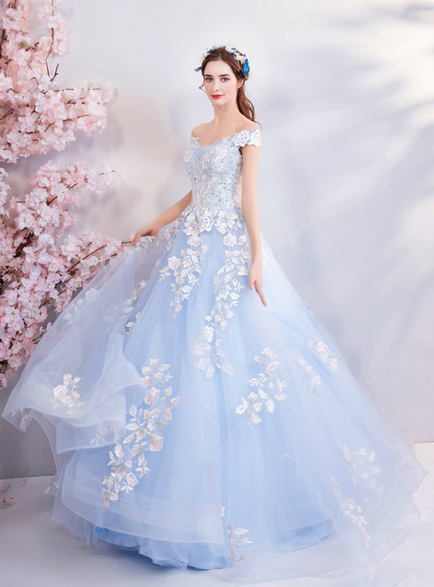 In Stock:Ship in 48 hours Blue Off The Shoulder Quinceanera Dresses
