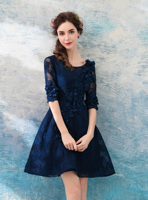 In Stock:Ship in 48 hours Blue Half Sleeve Backless Homecoming Dress